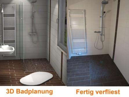 3D Badplanung und nach den Fliesenarbeiten im Bad