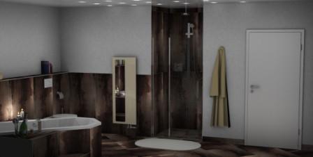 3D Badezimmerplanung mit Dusche und Badewanne