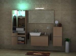 3D Bad mit Schränken und Lichtquellen