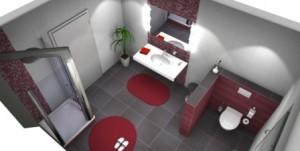 Ideen im Bad mit roten Fliesen