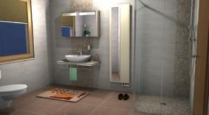 Badgestaltung in einer barrierefreien Dusche. Badheizung mit Spiegel