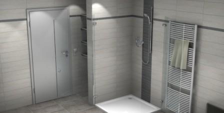 Duschflügeltür und Streifenbordüre in 3D