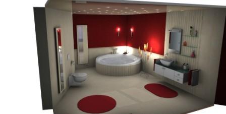 rote Akzente im Villeroy und Boch Bad
