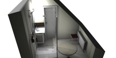 Dachschräge im Bad auf dem Dachboden