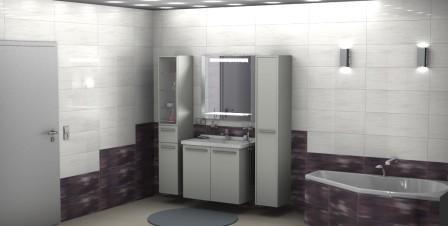 3D Badplanung. Zu sehen ist der Waschtisch und die Fliesenserie Colour Lights
