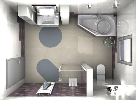 Draufsicht 3D Planung mit Walk in Dusche