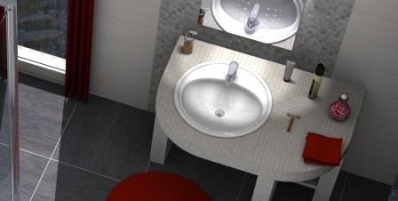 Waschtisch mit Mosaikfliesen