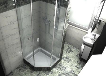 Sicht zur Dusche im Hotel