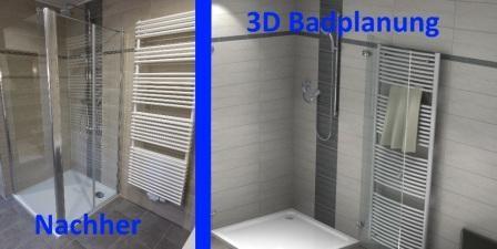 Bilder vom Badplaner. Vorher und Nacher.