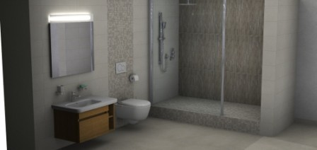 Dusche mit Regendusche und Abtrennung. Mosaikfliesen von Firma Jasba