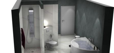 HSK Duschpaneel und halbrunde Badewanne