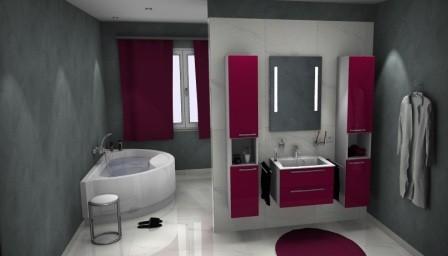 Badea Badmöbelanlage mit Waschbecken, seitlichen Schränken, Unterschrank und Spiegel