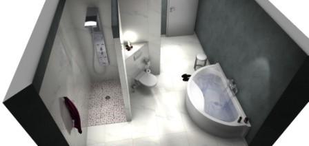 Bad mit Eck-WC und Halbrundwanne mit bodenebener Dusche