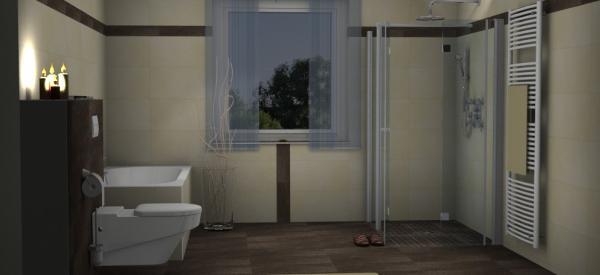 Barrierefreie Dusche mit MC Tile Fidenza basalt Mosaik